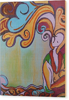 Wood Print featuring the painting She Thinks by Gioia Albano