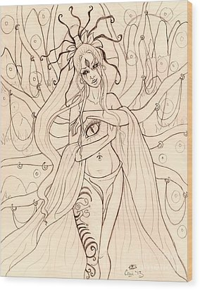 She Walked Through The Ruins Sketch Wood Print by Coriander  Shea