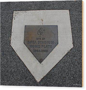 Shea Stadium Home Plate Wood Print by Rob Hans