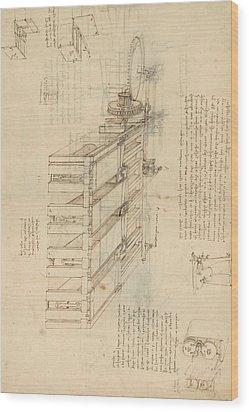 Shearing Machine With Detailed Captions Explaining Its Working From Atlantic Codex Wood Print by Leonardo Da Vinci