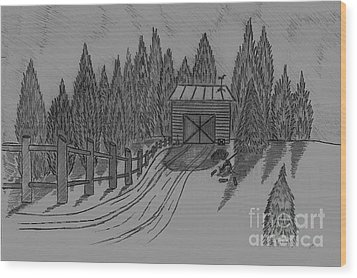 Shed In The Snow Wood Print by Neil Stuart Coffey