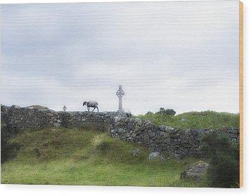Sheep And Cross Wood Print