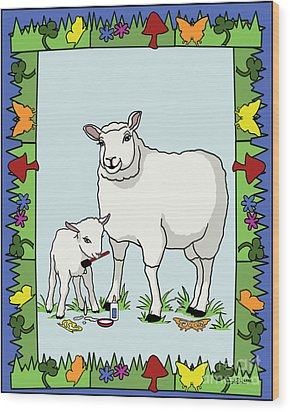 Sheep Artist Sheep Art II Wood Print by Audra D Lemke