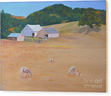 Wood Print featuring the painting Sheep At Redhill Farm by K L Kingston
