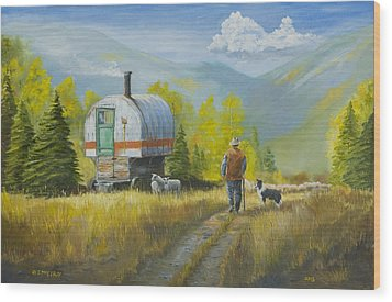 Sheep Camp Wood Print by Jerry McElroy