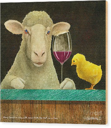 Sheep Faced On Wine With Some Chick He Met In A Bar... Wood Print