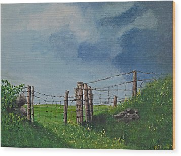 Sheep Field Wood Print by Barbara McDevitt