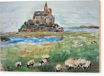 Sheep Grazing At Mont Saint Michel Wood Print