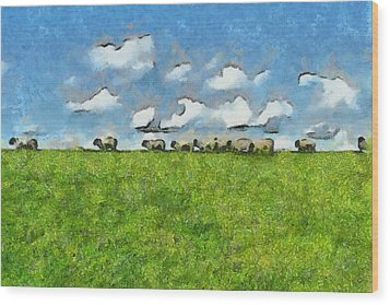 Sheep Herd Wood Print by Inspirowl Design