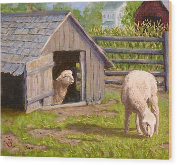 Wood Print featuring the painting Sheep House by Joe Bergholm