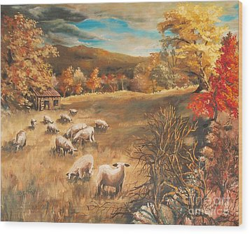 Sheep In October's Field Wood Print by Joy Nichols
