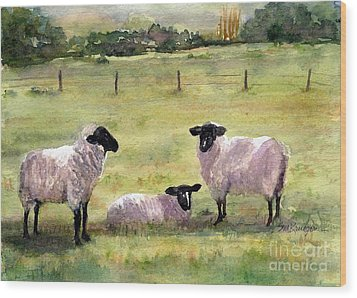 Sheep In The Meadow Wood Print