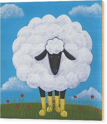 Sheep Nursery Art Wood Print by Christy Beckwith