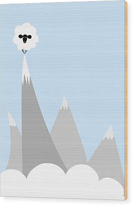 Sheep On Top Of A Mountain Wood Print by Christy Beckwith