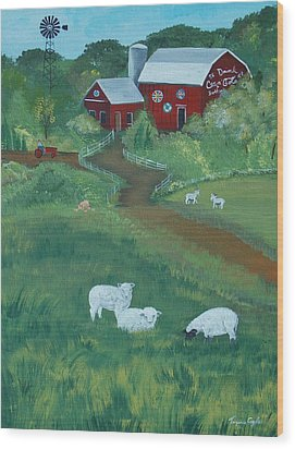 Sheeps In The Meadow Wood Print by Virginia Coyle