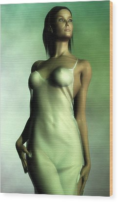 Wood Print featuring the digital art Sheer Nightgown In Green Light by Kaylee Mason