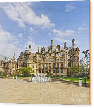 Sheffield Town Hall And Fountain Wood Print by Colin and Linda McKie
