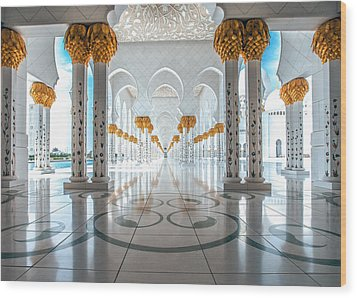 Sheikh Zayed Grand Mosque Wood Print by Robert  Aycock