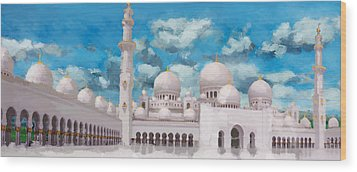 Sheikh Zayed Mosque Wood Print by Catf