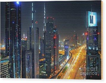 Sheikh Zayed Road In Dubai Wood Print by Lars Ruecker