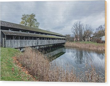 Shelburne Covered Bridge Wood Print by Jeremy Farnsworth
