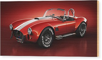 Wood Print featuring the digital art Shelby Cobra 427 - Bloodshot by Marc Orphanos