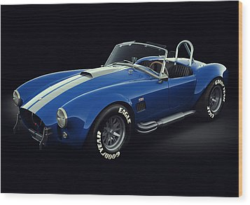 Wood Print featuring the digital art Shelby Cobra 427 - Bolt by Marc Orphanos