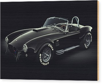 Wood Print featuring the digital art Shelby Cobra 427 - Ghost by Marc Orphanos