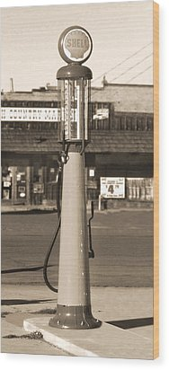 Shell Gas - Wayne Visible Gas Pump 2 Wood Print by Mike McGlothlen