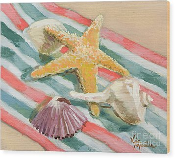 Wood Print featuring the painting Shells Abound by Vic  Mastis