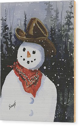 Shelly's Snowman Wood Print by Sam Sidders