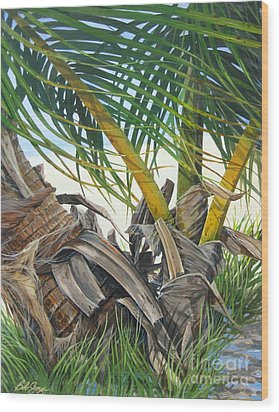 Sheltering Palms Wood Print