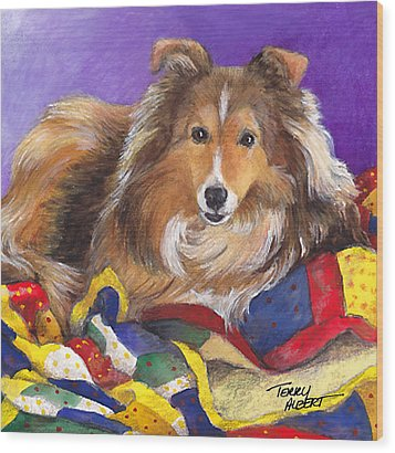 Sheltie On Quilt Wood Print