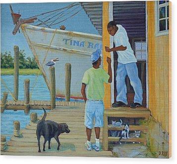 Shem Creek Docks Week End Wood Print