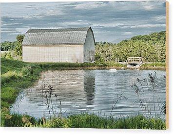 Shenandoah Barn Reflection Wood Print by Lara Ellis