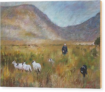 Wood Print featuring the drawing Shepherd And Sheep In The Valley  by Viola El