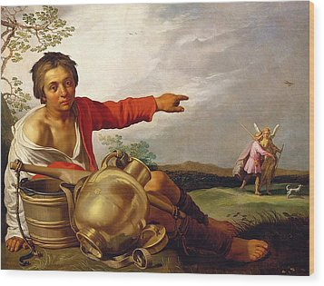 Shepherd Boy Pointing At Tobias And The Angel Wood Print by Abraham Bloemaert