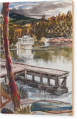 Shepherd Mountain Lake In Twilight Wood Print