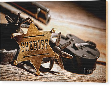 Sheriff Tools Wood Print by Olivier Le Queinec