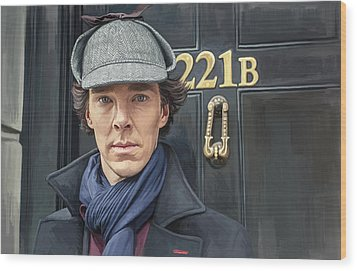 Wood Print featuring the painting Sherlock Holmes Artwork by Sheraz A