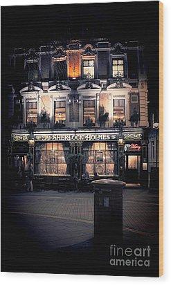 Sherlock Holmes Pub Wood Print