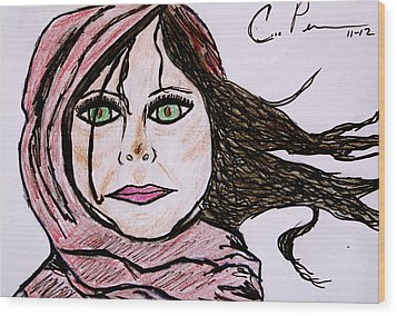 Wood Print featuring the drawing She's Like The Wind by Chrissy  Pena