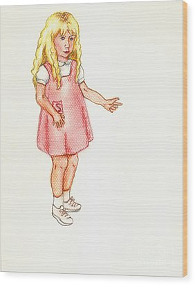 Wood Print featuring the pastel Shez by Kim Pate
