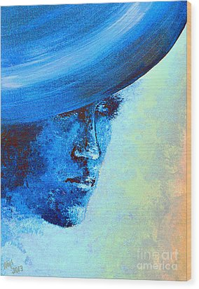 Shi Di Has The Blues Poster Wood Print by Alys Caviness-Gober