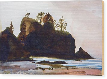 Wood Print featuring the painting Shi-shi Beach by Ed  Heaton