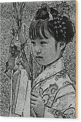 Shichi-go-san Girl Wood Print