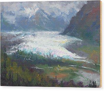 Shifting Light - Matanuska Glacier Wood Print by Talya Johnson