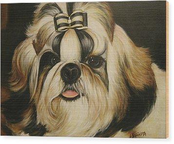 Wood Print featuring the painting Shih Tzu Puppy Portrait #2 by Melinda Saminski