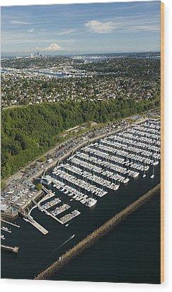 Shilshole Bay Marina On Puget Sound Wood Print by Andrew Buchanan/SLP