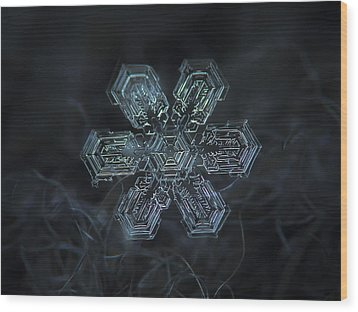 Wood Print featuring the photograph Snowflake Photo - Shine by Alexey Kljatov